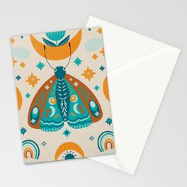 Moth and moon art Stationery Cards
