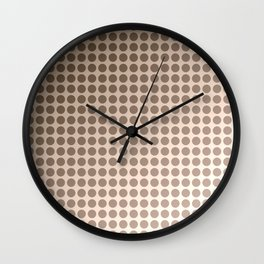 Pink beige polka dot pattern . Wall Clock