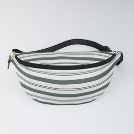 Night Watch Color of the Year PPG1145-7 Thick and Thin Horizontal Stripes on Delicate White Fanny Pack