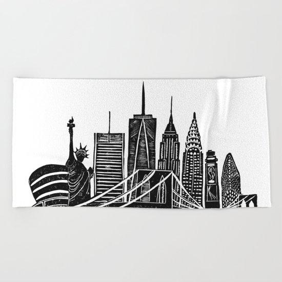 Linocut New York Beach Towel