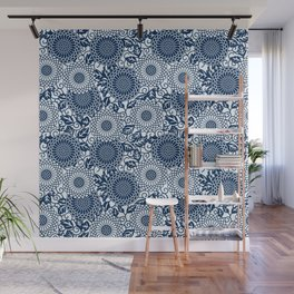 japanese blue flower pattern Wall Mural