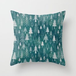 Christmas tree mix in arctic blues Throw Pillow