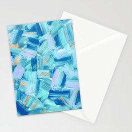 Artsy Abstract Modern Ocean Blue Brushstrokes Art Stationery Cards