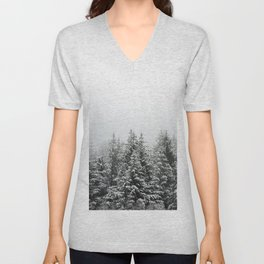 Winter Forest Fir Tree Snow III - Nature Photography Unisex V-Neck