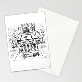 Creperie Cafe in Autumn (Minimal Line Drawing) Stationery Cards