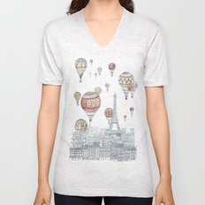 Voyages Over Paris Unisex V-Neck