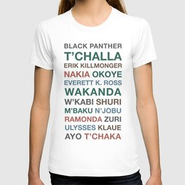 Black Panther Character Names T-shirt