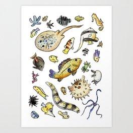 Saltwater Friends in Watercolor Art Print