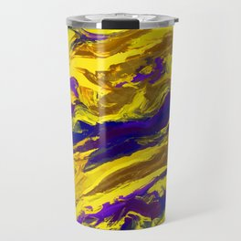OIL ABSTRACT PAINTING - PLAY OF YELLOW AND BLUE Travel Mug