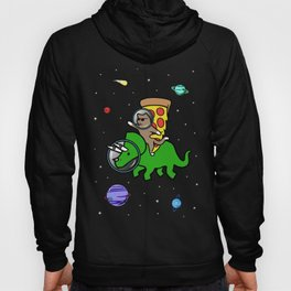 Cat And Pizza Riding Triceratops In Space Hoody