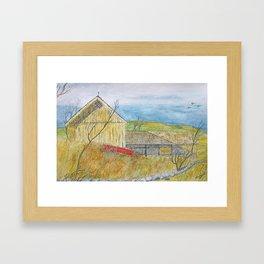 The Old Yellow Barn Framed Art Print