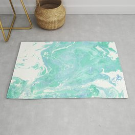 Marble texture background, white blue green marble pattern Rug