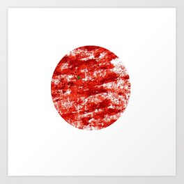 Flag of japan 3- Chalk version. Art Print