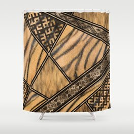 Bengal Tiger Fur with Ethnic Ornaments #1 Shower Curtain