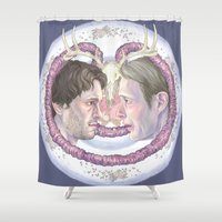 meat Shower Curtains featuring Sweet Meat by Panic Volkushka