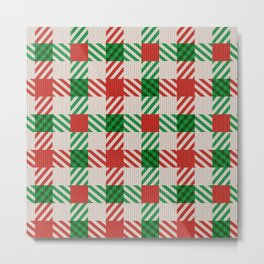 Christmas Green & Red Plaid Design For Decoration Metal Print