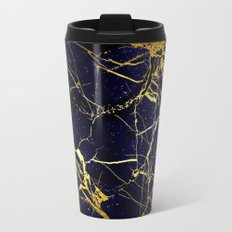 BlueBlack-Gold Marble Galaxy Impress Travel Mug
