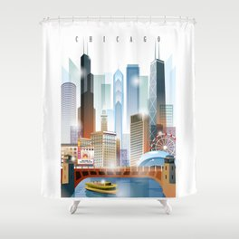 Chicago city skyline painting Shower Curtain