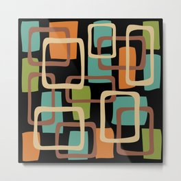 Mid Century Modern Overlapping Squares Pattern 131 Metal Print