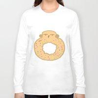 doughnut Long Sleeve T-shirts featuring Bovi-doughnut by Francine