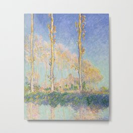 Poplars, Three Trees in Autumn by Claude Monet, 1891 Metal Print