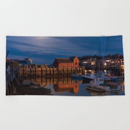Rockport Harbor at night Beach Towel