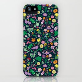 Flowers and Ferns Colorful Illustrated Print iPhone Case