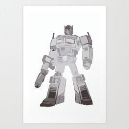 Optimus Black and White Art Print