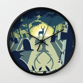 Deerly Departed - Stag in a Cemetery Wall Clock