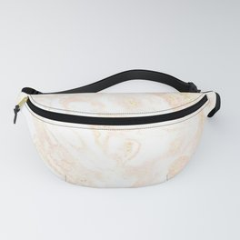 White Marble Pastel Pink and Gold by Nature Magick Fanny Pack
