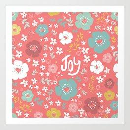 Cute Christmas Flowers Pattern & Text Joy Art Print