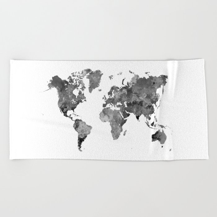 World map in watercolor gray Beach Towel