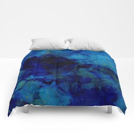 NEW Alcohol Ink Deep Blue Trip I Comforters