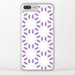 Purple, Beige, Yellow, Navy Pattern Clear iPhone Case