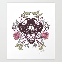 Wolf and Roses Art Print