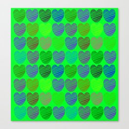 neon hearts  Canvas Print