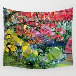 Garden Landscape Low Poly Geometric Triangle Art Wall Tapestry