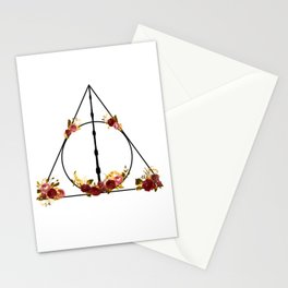 Deathly Hallows in Red and Gold Stationery Cards