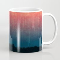 rain Mugs featuring Meteor rain by Picomodi