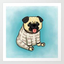 Pug in Pyjamas (blue) Art Print