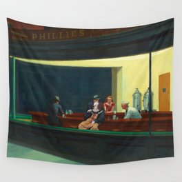 Pennywise in Hopper's Nighthawks Wall Tapestry