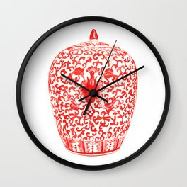 Coral Red Ginger Jar 1 Wall Clock