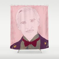 the grand budapest hotel Shower Curtains featuring The Grand Budapest Hotel II by Itxaso Beistegui Illustrations