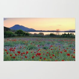 Red Poppies. Sunset at the lake Rug