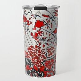 Woodcut Flowers in Red Travel Mug