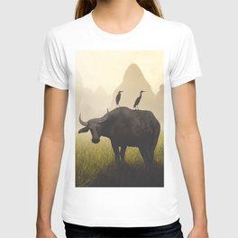 Water Buffalo And Egrets T-shirt