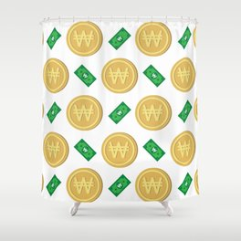 Korean won pattern background Shower Curtain