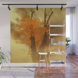 Last Yellow Leaves On Dark Branches Wall Mural