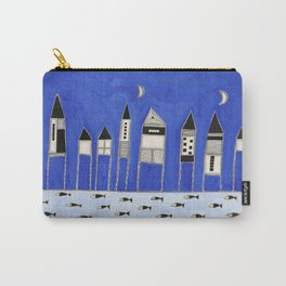 Tiny houses and fish in blue Carry-All Pouch