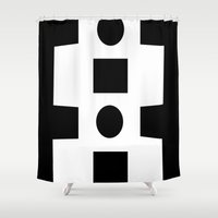 totem Shower Curtains featuring Totem by Manu Design and Co